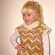 Жилет  «Пушистый Зубастик»  для девочки вязанный вручную из собачьей шерсти . Ручное прядение .Ручное вязание. Рассчитано на несколько поколений детей . Нитка «живая» .Пряжа пуховая.