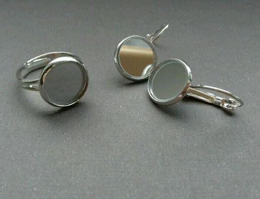 Комплекты украшений ручной работы. Ярмарка Мастеров - ручная работа. Купить украшения с зеркалом (кольцо и серьги с зеркалом посеребрение. Handmade.
