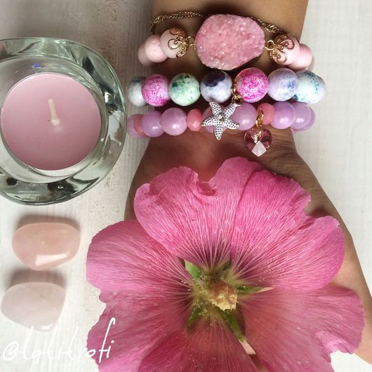 """Браслеты ручной работы. Ярмарка Мастеров - ручная работа. Купить Комплект браслетов """"Цвет мальвы"""". Handmade. Розовый, розовый цвет"""