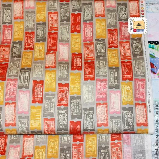 Шитье ручной работы. Ярмарка Мастеров - ручная работа. Купить Американский хлопок Билетики (20138) ткань для пэчворка. Handmade.