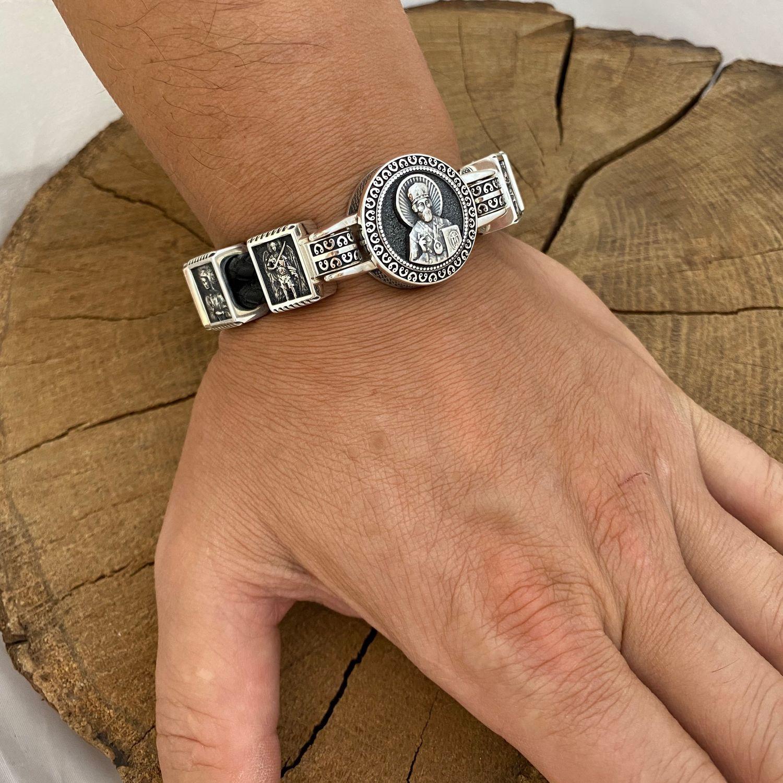 Серебряный православный браслет, Браслет-шнурок, Харьков,  Фото №1