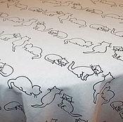 """Для дома и интерьера ручной работы. Ярмарка Мастеров - ручная работа Скатерть на стол """"Милые кошечки"""" Полульняная скатерть. Handmade."""