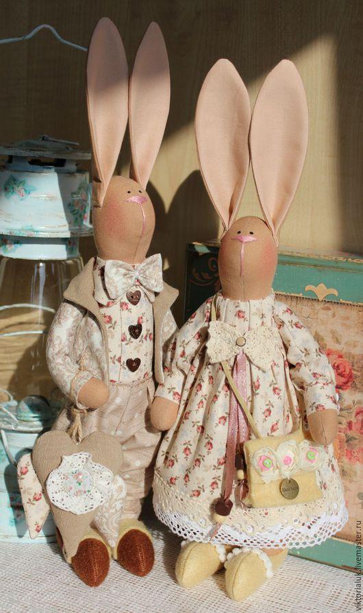 Куклы Тильды ручной работы. Ярмарка Мастеров - ручная работа. Купить Влюблённые зайки.. Handmade. Комбинированный, кролик, подарок на свадьбу