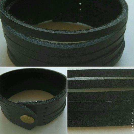 Браслеты ручной работы. Ярмарка Мастеров - ручная работа. Купить Чёрный кожаный браслет Лапша (узкий). Handmade. Унисекс