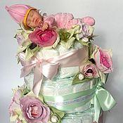 Работы для детей, ручной работы. Ярмарка Мастеров - ручная работа Торт из памперсов.. Handmade.