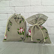 Материалы для творчества handmade. Livemaster - original item Bags, linen cotton roses on grey. Handmade.