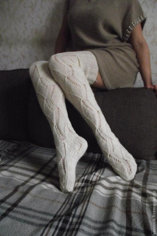 чулки вязаные белый лотос купить в интернет магазине на ярмарке