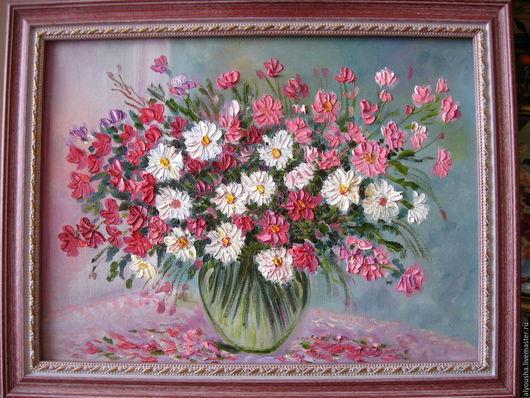 Картины цветов ручной работы. Ярмарка Мастеров - ручная работа. Купить Нежность  .Полевые  цветы. Handmade. Фуксия, холст, розовый