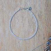 Украшения ручной работы. Ярмарка Мастеров - ручная работа Тонкий браслет из лунного камня и серебра. Handmade.