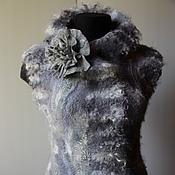 Одежда ручной работы. Ярмарка Мастеров - ручная работа Жилет валяный Серебристое руно. Handmade.