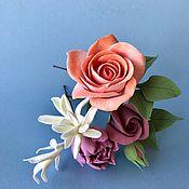 Свадебный салон handmade. Livemaster - original item Coral rose and Jasmine stilettos. polymer clay. Handmade.