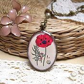 Украшения handmade. Livemaster - original item Vintage Pendant Retro Herbarium Poppy Red Field Grass. Handmade.