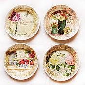 """Посуда ручной работы. Ярмарка Мастеров - ручная работа """"Сады цветут"""". Комплект тарелок. Handmade."""