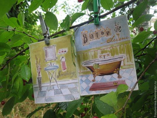 """Ванная комната ручной работы. Ярмарка Мастеров - ручная работа. Купить """"Весеннее обострение""""-Таблички для ванной и туалета. Handmade. Табличка"""
