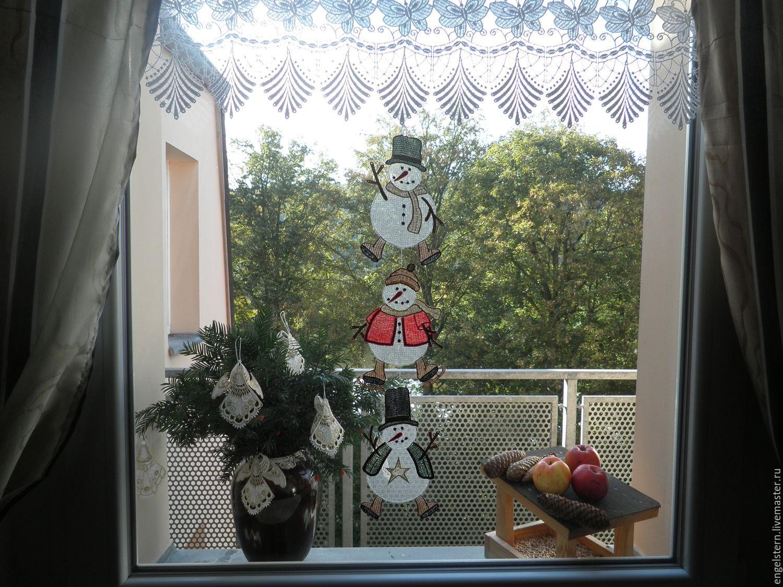 """Рождественское кружевное пано для окон """"Снеговики"""", Suspension, Gera,  Фото №1"""