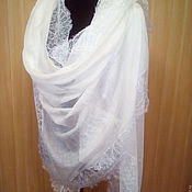 Аксессуары handmade. Livemaster - original item Stole from the finest pashmina with French lace. Handmade.