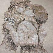 Картины и панно ручной работы. Ярмарка Мастеров - ручная работа Вышитая картина Ретро поцелуй. Handmade.