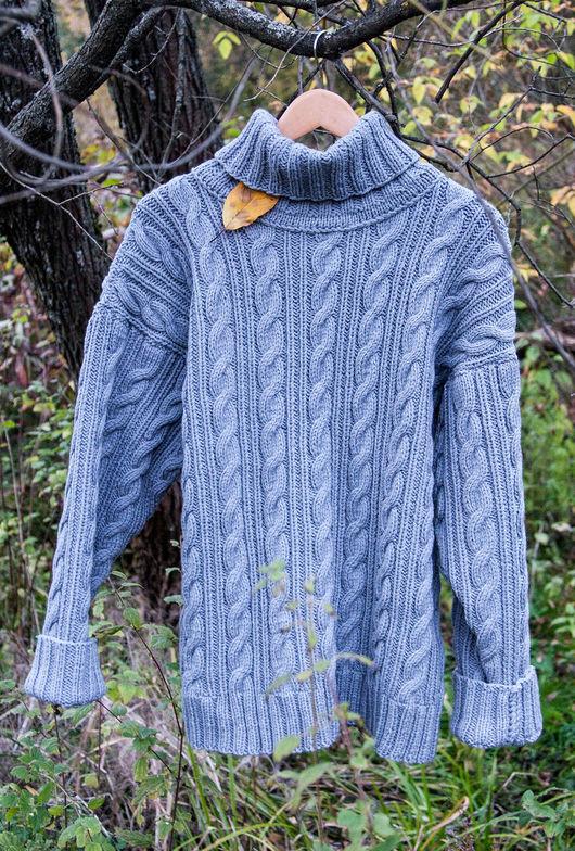 Кофты и свитера ручной работы. Ярмарка Мастеров - ручная работа. Купить Свитер с аранами #1. Handmade. Серый, свитер с аранами