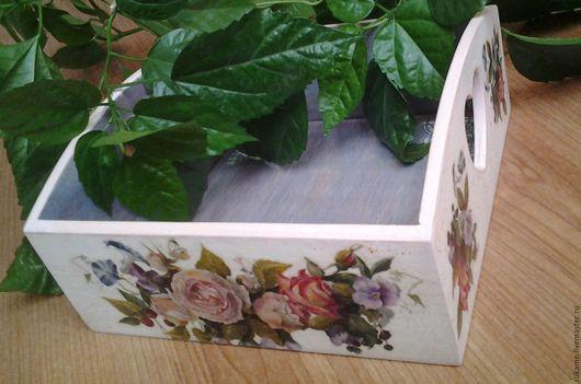 """Кухня ручной работы. Ярмарка Мастеров - ручная работа. Купить Поднос-сухарница """"Винтажные цветы"""". Handmade. Комбинированный, практичный подарок"""
