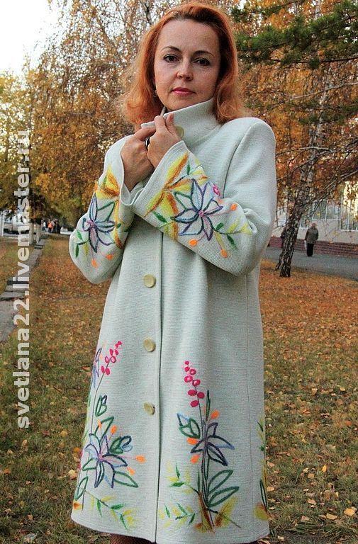 """Верхняя одежда ручной работы. Ярмарка Мастеров - ручная работа. Купить Вязаное пальто""""Шикарное-белое"""". Handmade. Шерсть, Сухое валяние"""