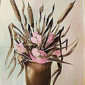 """Картины и панно ручной работы. Ярмарка Мастеров - ручная работа Картина маслом """"Камыши с розовыми цветами"""" 40х60, холст, лен, масло. Handmade."""