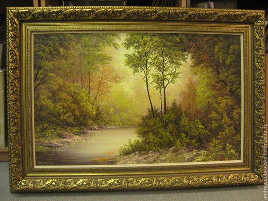 Пейзаж ручной работы. Ярмарка Мастеров - ручная работа. Купить Утренний лес. Handmade. Утренний лес, картина, для интерьера, масло