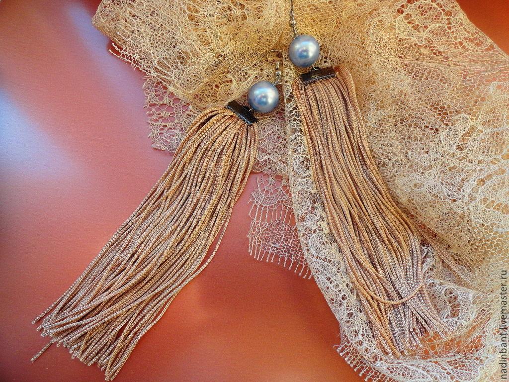 Earrings Tassels 'New Form' with pearl Swarovski, Tassel earrings, St. Petersburg,  Фото №1