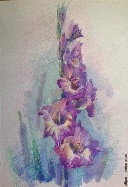 Картины цветов ручной работы. Ярмарка Мастеров - ручная работа. Купить Гладиолус. Handmade. Сиреневый, акварельные цветы, букет, гладиолус