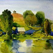 Картины и панно ручной работы. Ярмарка Мастеров - ручная работа Русский летний пейзаж река и домик картина акварелью. Handmade.