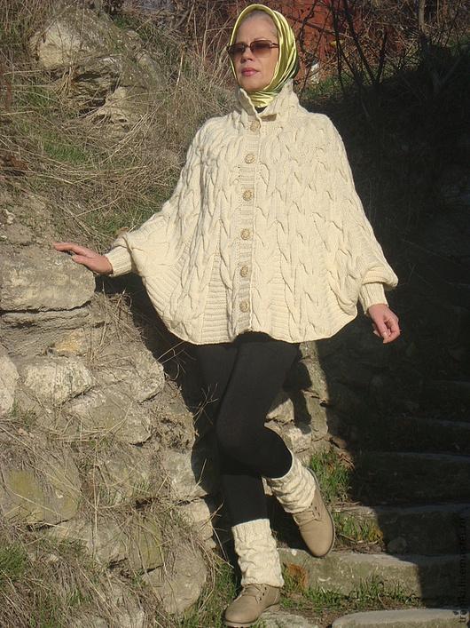Кофты и свитера ручной работы. Ярмарка Мастеров - ручная работа. Купить Кардиган- пончо вязаный. Handmade. Белый, узор косы