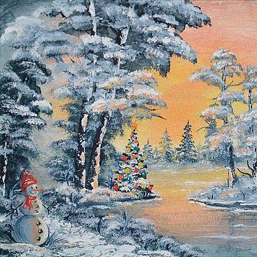 Картины и панно ручной работы. Ярмарка Мастеров - ручная работа Картина миниатюра Ёлка новогодняя и снеговик у озера, 20х15, масло. Handmade.