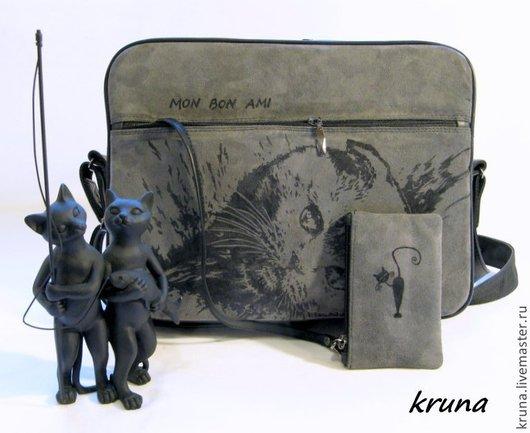 Женские сумки ручной работы. Ярмарка Мастеров - ручная работа. Купить Комбинированный черный кожаный чемоданчик Шотландская кошка. Handmade.