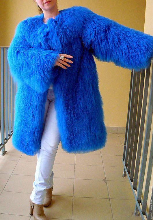 Верхняя одежда ручной работы. Ярмарка Мастеров - ручная работа. Купить Шуба длинная из меха тибетской ламы ярко-синяя. Handmade.