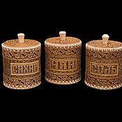 """Для дома и интерьера handmade. Livemaster - original item Набор туесов из бересты """"Розы"""" соль, чай, сахар. Баночки для хранения. Handmade."""