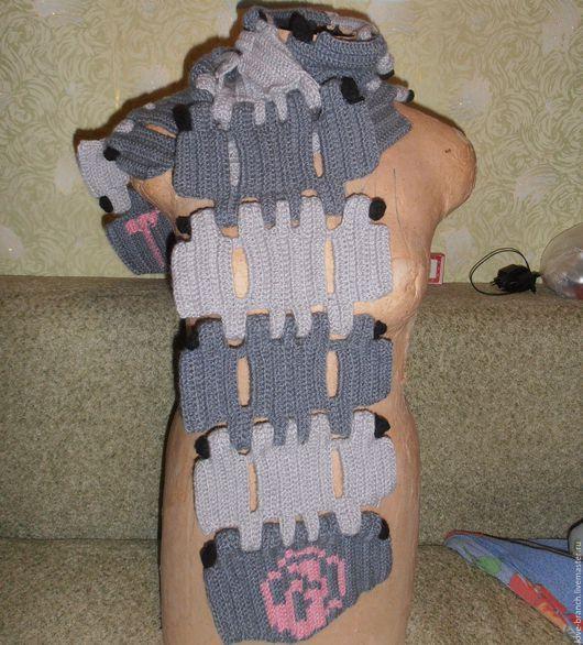 Шарфы и шарфики ручной работы. Ярмарка Мастеров - ручная работа. Купить Танко-шарф. Handmade. Серый, шарф, шерсть 100%