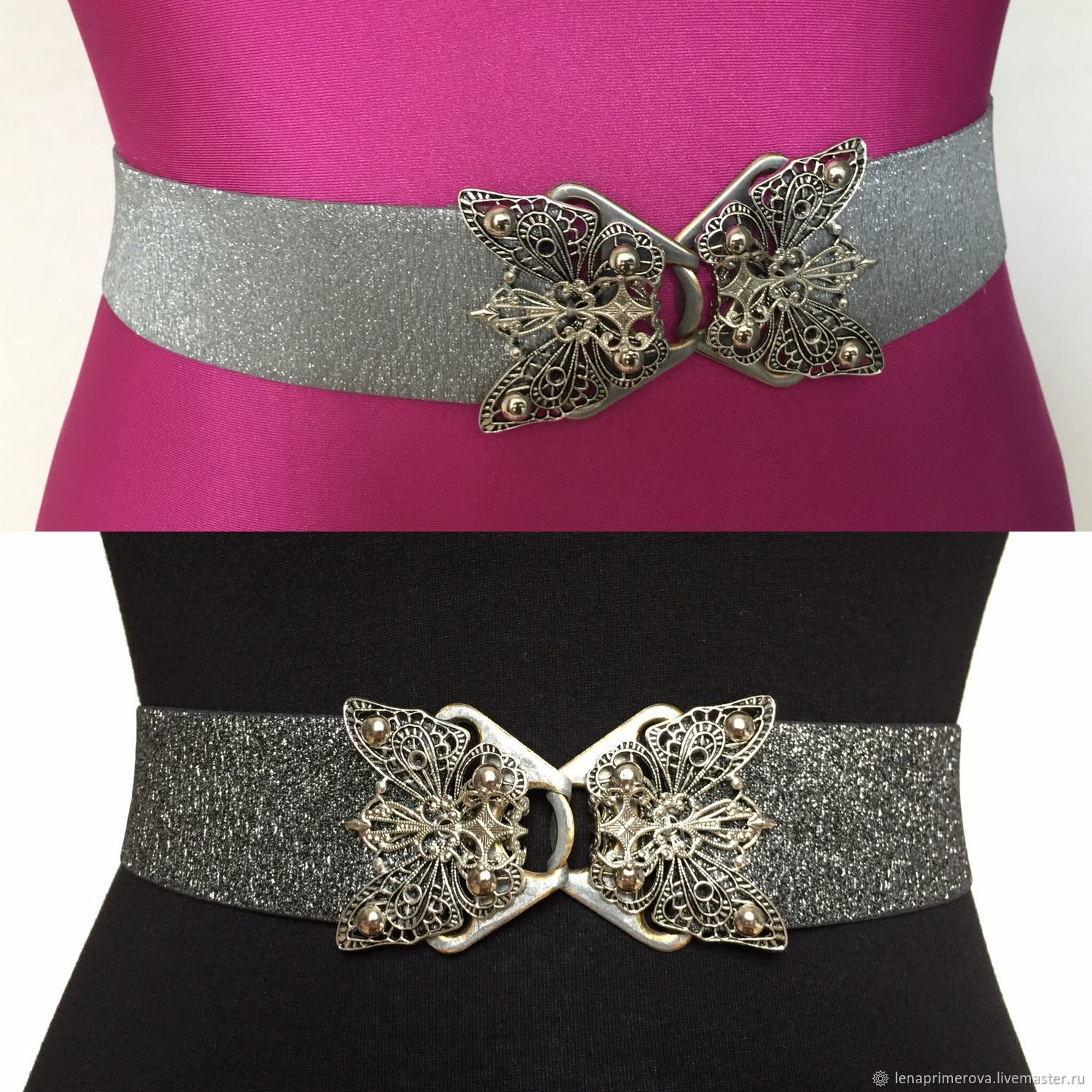 Elastic belts Butterfly 93 silver and dark silver, Belt, Moscow,  Фото №1