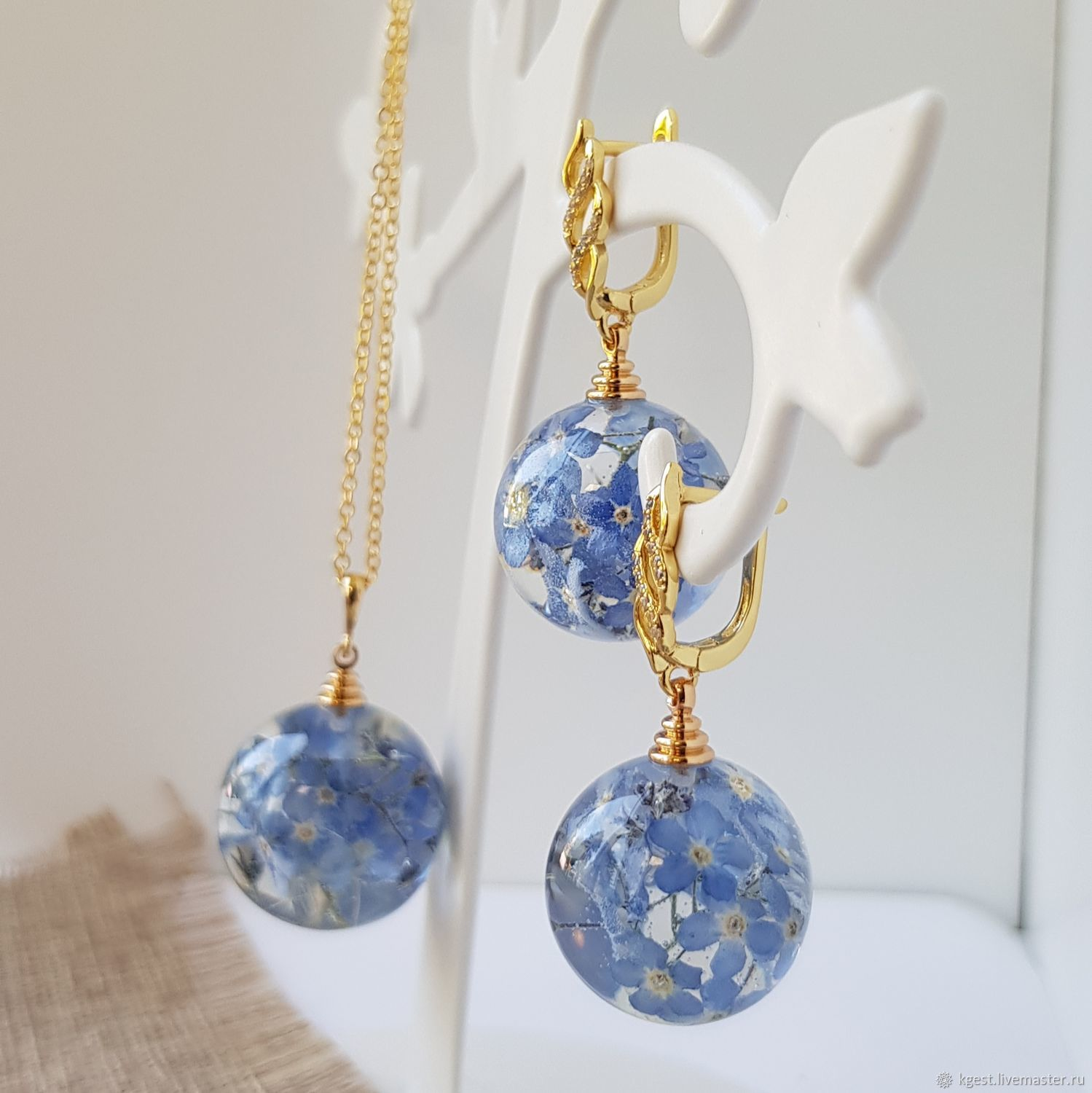 Set of resin 'forget-me-Nots', Jewelry Sets, Oktyabrsky,  Фото №1