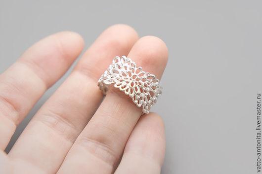 Кольца ручной работы. Ярмарка Мастеров - ручная работа. Купить светлое кольцо из серебра Кружево Мха, широкое кольцо. Handmade.