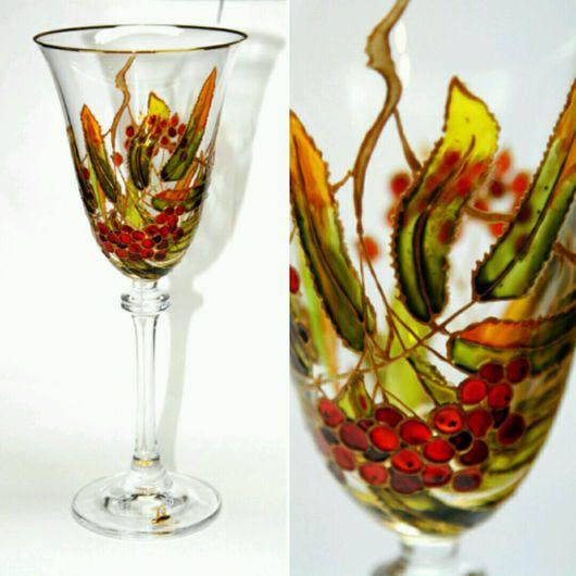 """Бокалы, стаканы ручной работы. Ярмарка Мастеров - ручная работа. Купить Бокалы для вина - """"Ягодки"""". Handmade. Бокалы, бокалы с росписью"""