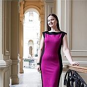 Одежда ручной работы. Ярмарка Мастеров - ручная работа Платье двухцветное - черный, фуксия. Handmade.