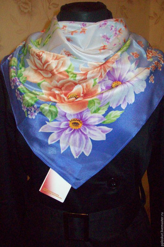 `ПОД ПЕНИЕ ПТИЦ` павловопосадский платок , вид -13. шелк-крепдешин. размер 65*65 см, шейный платок.  первый сорт!