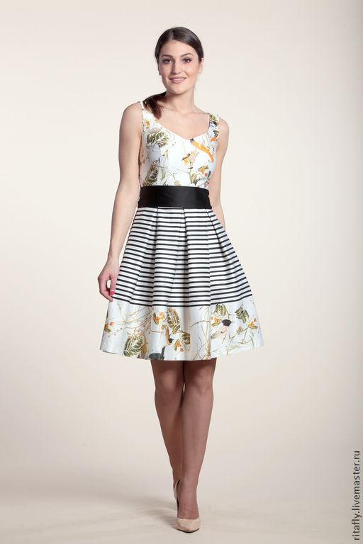 летнее платье платье с принтом платье из хлопка платье хлопковое платье без рукавов платье с разрезами платье с птичками платье принтованное платье повседневное платье на каждый день платье свободное