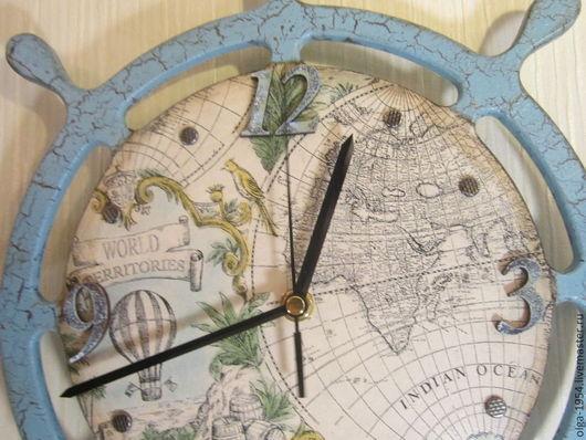 """Часы для дома ручной работы. Ярмарка Мастеров - ручная работа. Купить Часы """"Голубой штурвал"""" круглые деревянные настенные. Handmade."""
