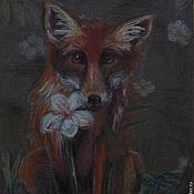 """Картины и панно ручной работы. Ярмарка Мастеров - ручная работа """"Милый, рыжий... """" (Лисенок с цветком). Handmade."""