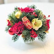 Цветы и флористика ручной работы. Ярмарка Мастеров - ручная работа Новогодняя композиция с орхидеями. Handmade.