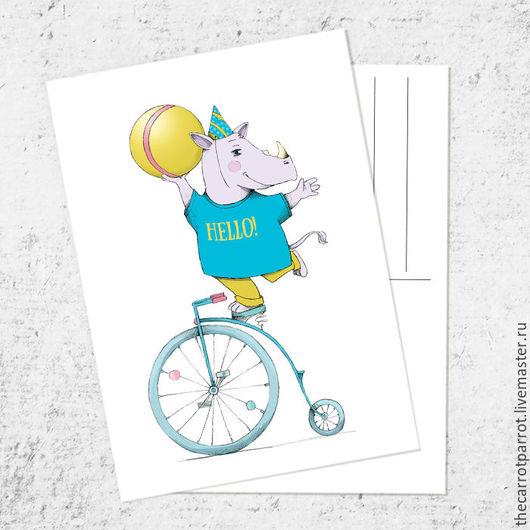 Открытки на все случаи жизни ручной работы. Ярмарка Мастеров - ручная работа. Купить Почтовая открытка «Носорог с мячиком». Handmade. Бирюзовый