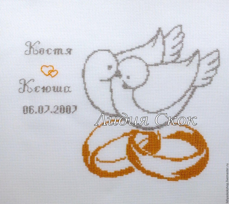 Вышивка крестом свадебные кольца схема