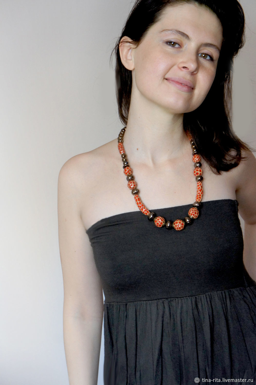 Ceramic beads 'Red polka dot', Jewelry Sets, Severobaikalsk,  Фото №1