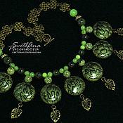 Necklace handmade. Livemaster - original item Necklace polymer clay greenish (527). Handmade.