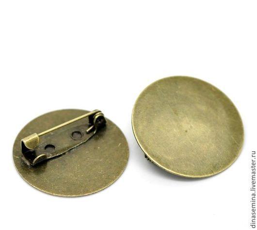 Основа для броши плоский значок цвет серебро или бронза, диаметр 25мм: 1) цвет бронза 1шт- 12руб